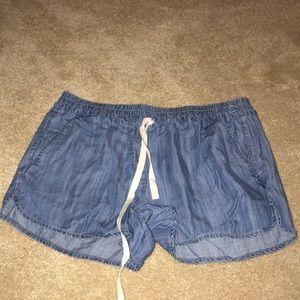 jean flowy shorts